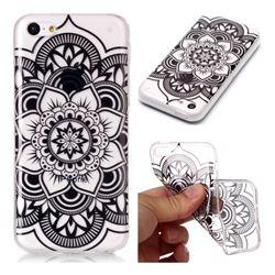 Black Mandala Flower Super Clear Soft TPU Back Cover for iPhone 5c