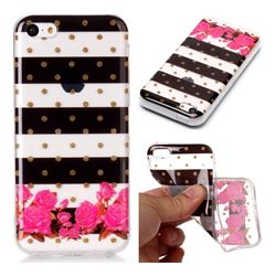 Striped Flowers Super Clear Soft TPU Back Cover for iPhone 5c