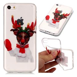 Red Gloves Elk Super Clear Soft TPU Back Cover for iPhone 5c