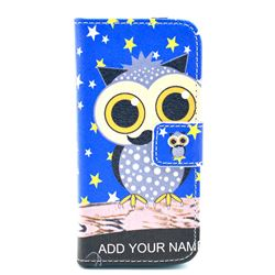 Starry Owl Leather Wallet Case for iPhone 5c