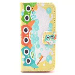 Soap Bubbles Owls Leather Wallet Case for iPhone 5c