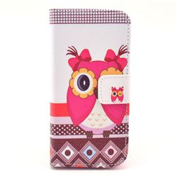 Owl Sister Leather Wallet Case for iPhone 5c