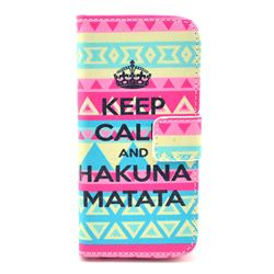 KEEP CALM AND HAKUNA MATATA Leather Wallet Case for iPhone 5c