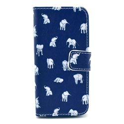 India Elephants Leather Wallet Case for iPhone 5c