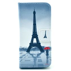 Rain Eiffel Tower Leather Wallet Case for iPhone 5c