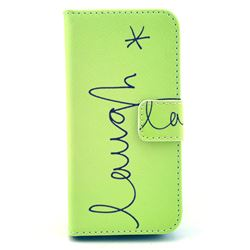 Simple Laugh Leather Wallet Case for iPhone 5c