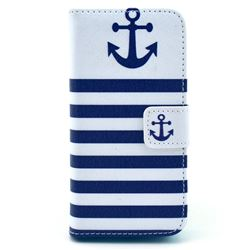 Navy Anchor Leather Wallet Case for iPhone 5c