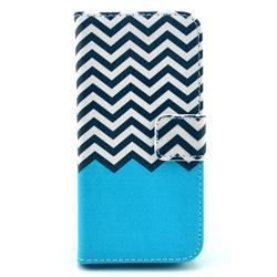 Blue Chevron Leather Wallet Case for iPhone 5c