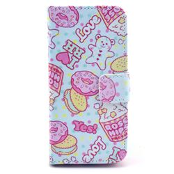 Cookie and Pop Corn Leather Wallet Case for iPhone 5c