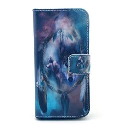 Dreaming Catcher Wolf Leather Wallet Case for iPhone 5c