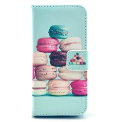 Colorful Macaroons Leather Wallet Case for iPhone 5c