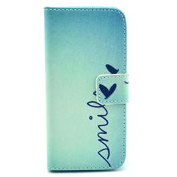 Smile Butterfly Leather Wallet Case for iPhone 5c