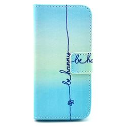 Sample Happy Leather Wallet Case for iPhone 5c