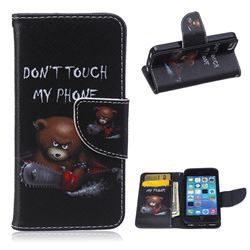 Chainsaw Bear Leather Wallet Case for iPhone 5c