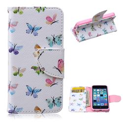 Colored Butterflies Leather Wallet Case for iPhone 5c