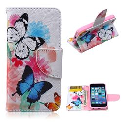 Vivid Flying Butterflies Leather Wallet Case for iPhone 5c