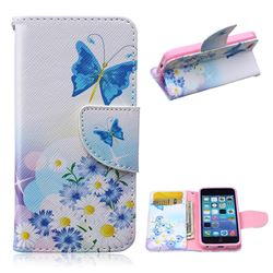 Butterflies Flowers Leather Wallet Case for iPhone 5c