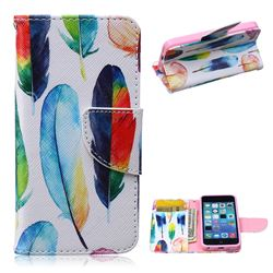 Colored Feather Leather Wallet Case for iPhone 5c