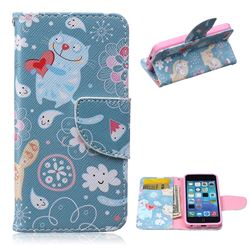 Loving Cat Leather Wallet Case for iPhone 5c