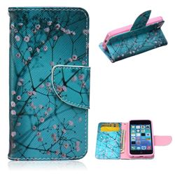 Blue Plum Leather Wallet Case for iPhone 5c
