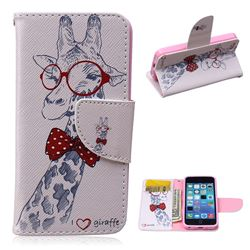 Glasses Giraffe Leather Wallet Case for iPhone 5c