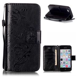 Embossing Butterfly Flower Leather Wallet Case for iPhone 5c - Black