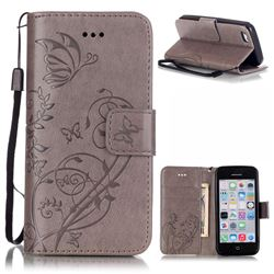 Embossing Butterfly Flower Leather Wallet Case for iPhone 5c - Grey