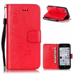 Embossing Butterfly Flower Leather Wallet Case for iPhone 5c - Red