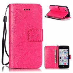 Embossing Butterfly Flower Leather Wallet Case for iPhone 5c - Rose
