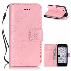 Embossing Butterfly Flower Leather Wallet Case for iPhone 5c - Pink