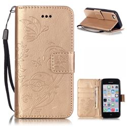 Embossing Butterfly Flower Leather Wallet Case for iPhone 5c - Champagne