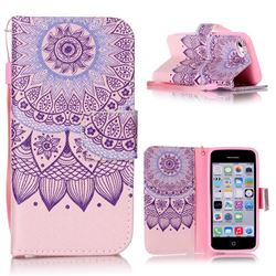 Purple Sunflower Leather Wallet Phone Case for iPhone 5c