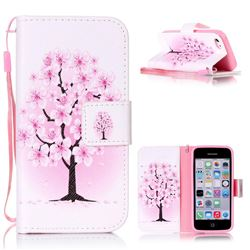 Peach Flower Leather Wallet Phone Case for iPhone 5c