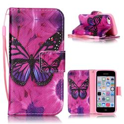 Black Butterfly Leather Wallet Phone Case for iPhone 5c