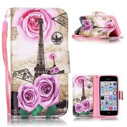 Rose Eiffel Tower Leather Wallet Phone Case for iPhone 5c