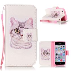 Lovely Cat Leather Wallet Phone Case for iPhone 5c