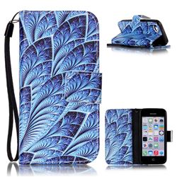 Blue Feather Leather Wallet Phone Case for iPhone 5c