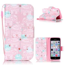 Pink Elephant Leather Wallet Phone Case for iPhone 5c