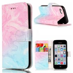 Pink Green Marble PU Leather Wallet Case for iPhone 5c