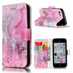 Pink Seawater PU Leather Wallet Case for iPhone 5c