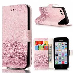 Glittering Rose Gold PU Leather Wallet Case for iPhone 5c