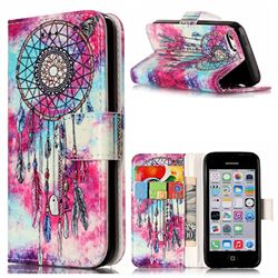 Butterfly Chimes PU Leather Wallet Case for iPhone 5c