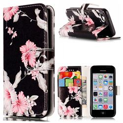 Azalea Flower PU Leather Wallet Case for iPhone 5c