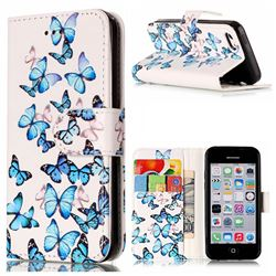 Blue Vivid Butterflies PU Leather Wallet Case for iPhone 5c