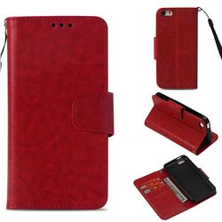 Retro Phantom Smooth PU Leather Wallet Holster Case for iPhone 5c - Red