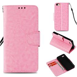 Retro Phantom Smooth PU Leather Wallet Holster Case for iPhone 5c - Pink