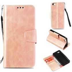 Retro Phantom Smooth PU Leather Wallet Holster Case for iPhone 5c - Rose Gold