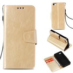 Retro Phantom Smooth PU Leather Wallet Holster Case for iPhone 5c - Champagne