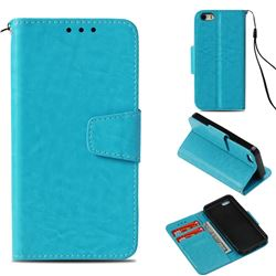 Retro Phantom Smooth PU Leather Wallet Holster Case for iPhone 5c - Sky Blue