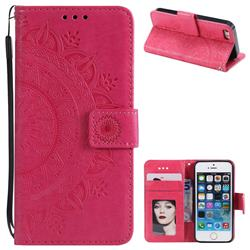 Intricate Embossing Datura Leather Wallet Case for iPhone 5c - Rose Red